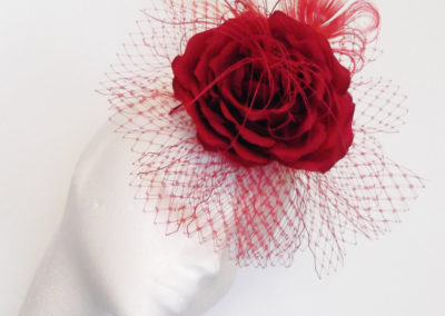 Scarlet Red Rose Veil Fascinator