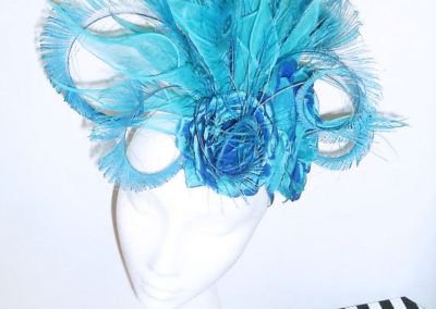 Turquoise Silk Lily and Peacoack sword Headdress