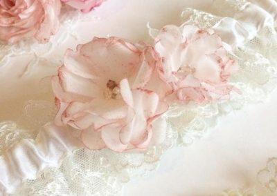 Metallic Rose Gold & Ivory Wedding Garter