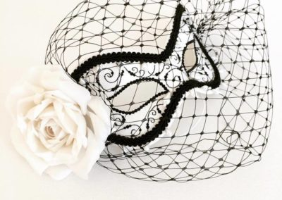 Black & Ivory Silk Masquerade Ball Mask