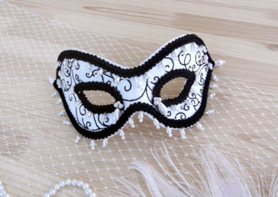 Black, Ivory & Pearl Silk Mask