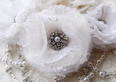 Wedding hair beads and lace