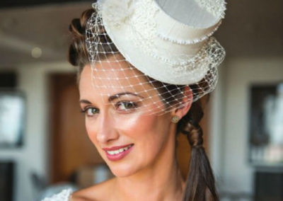 Lace Bridal Top Hat with Cage Veil
