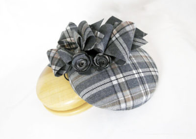 Check Wool Button Pill box Hat