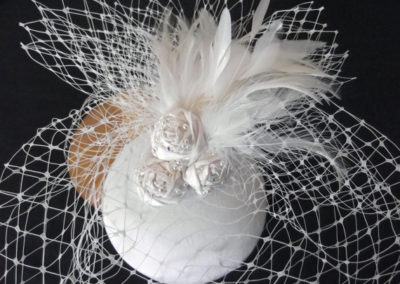 Bridal Button Pillbox Hat with Birdcage Veil