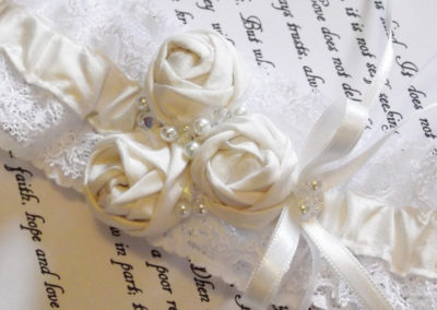 silk and lace rosette wedding garter