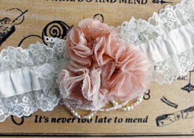 Dusky Pink Shabby Chic Bridal Garter