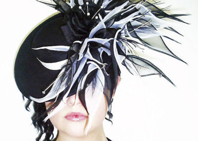 Black and White Lily Saucer Hat