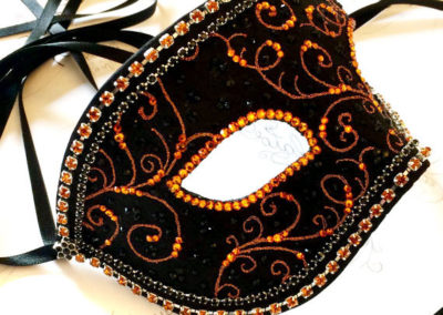 Black and Orange Mens Masquerade Ball Mask