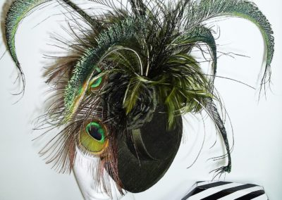 Olive Peacock Ascot Hat