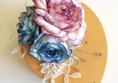 Pink & Blue Silk Roses