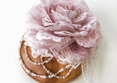 Pale pink lace and metal silk organza rose hair jewellery