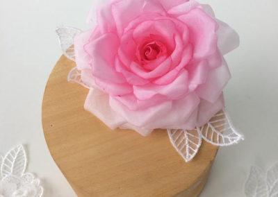 Silk Painted Pink Rose