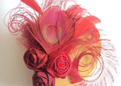 Red Rosette feather fascinator