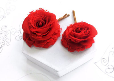 Red silk and lace rose hair clips