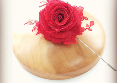 Red Silk and Lace Rose Grooms Pin