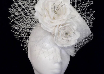 Ivory Silk Rose and Veil Wedding Top Hat