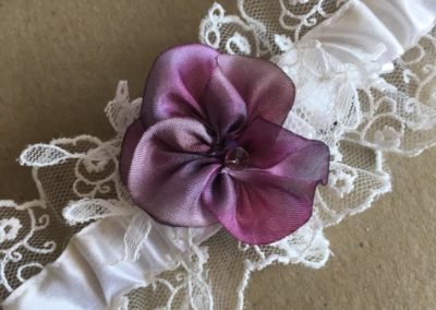 Silk ribbon pansy closeup