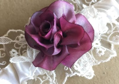 Silk ribbon rose closeup