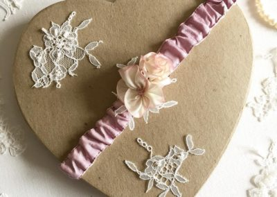 Wood Rose Pink and Ivory Silk Garter