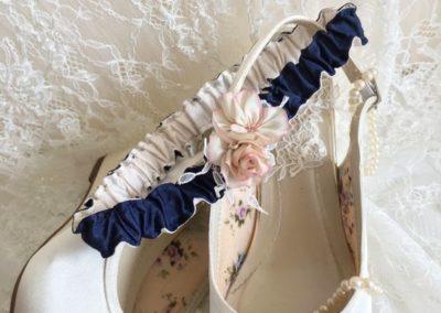 Navy, Ivory & Pink Garter