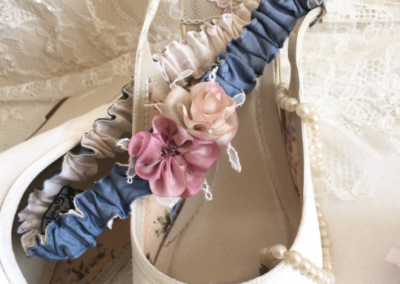 Slate Blue & Ivory Bridal Garter